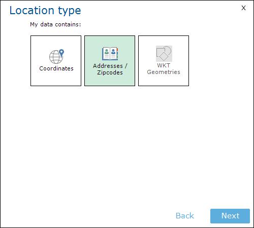 Location Type Adresses / Zipcodes