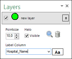 Map Layer list in Excel E-Maps