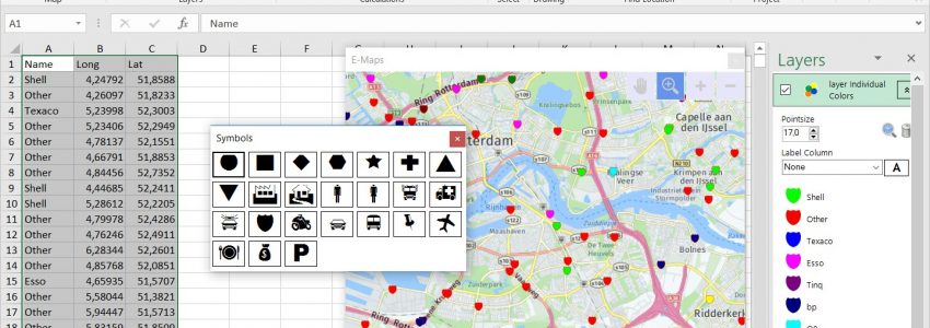 E-Maps | visualize your data by mapping in Excel on